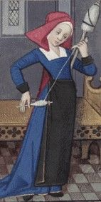Picture Friday: winding thread on the spindle.  Note her hand positions.