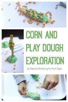 For this activity we used popcorn kernels, green play dough, and craft sticks. This activity could be included in a farm, harvest, or Thanksgiving theme. Fall Preschool Activities, Playdough Activities, Sensory Activities Toddlers, Thanksgiving Preschool, Preschool Lesson Plans, Preschool Crafts, Animal Activities, Sensory Play, Preschool Farm