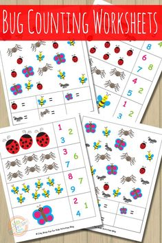 Bug Counting Worksheets. Are your kids learning counting? These cute bug counting worksheets will help them with just that! Click now!