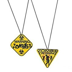 Zombie Warning Sign Necklaces (12 Pack)