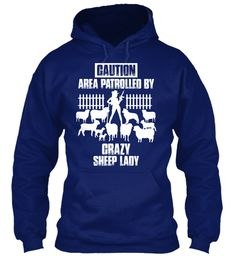 Caution Area Patrolled By Crazy Sheep Lady Oxford Navy Sweatshirt Front