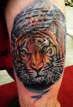 tattoo tigre feita na convenção de joivilhe