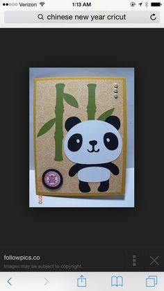 Pinner says: Adorable panda card! It came together super quick because the panda was made using the Post-it Brand Craft Paper. This paper definitely makes your Cricut projects super fast! Fun Crafts, Crafts For Kids, Paper Crafts, Panda Craft, Create A Critter, Panda Party, Thinking Day, Animal Cards, Cricut Creations