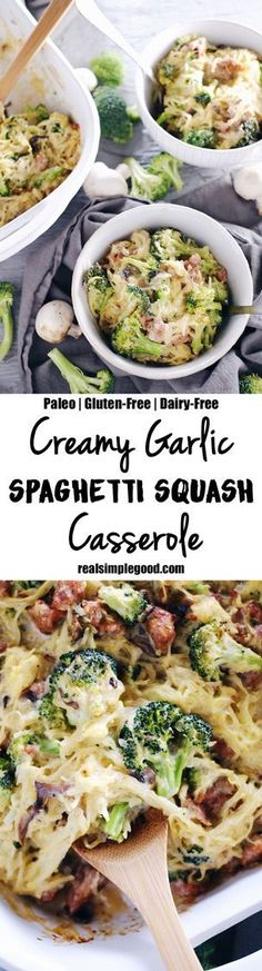 This creamy garlic spaghetti squash casserole is so saucy and delicious! It's got a creamy, dairy-free sauce packed with garlicky goodness that is perfect with the spaghetti squash, mushrooms, broccoli, and sausage. Paleo, Gluten-Free + Dairy-Free. | realsimplegood.com Sausage And Spaghetti Squash, Recipes With Spaghetti Squash, Whole 30 Spaghetti Squash, Chicken Spagetti Squash, Spagetti Squash Casserole, Paleo Spaghetti Sauce, Paleo Pasta, Shrimp Casserole, Paleo Food