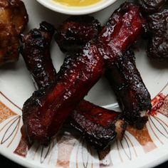 Chinese Barbecued Spareribs Recipe - Saveur.com - For this dish, we like to use leaner, Chinese-style spareribs, also called St. Louis style, from which the breast bones and flaps of cartilaginous meat have been removed.
