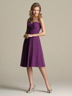 A-line Sweetheart Ruffles Sleeveless Knee-length Chiffon Bridesmaid Dresses / Cocktail Dresses / Homecoming Dresses