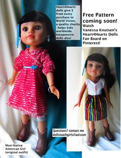 Mosi, the beautiful Native American (Indian) doll from Playmates toys. Look on my Pinterest for free blouse and free skirt patterns - see sample on right.