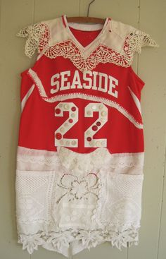 altered jersey - Wearable Folk Art Collage Clothing Couture - SEASIDE - mybonny random scraps