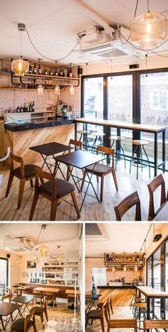 Coffee Bar Design, Coffee Shop Interior Design, Restaurant Interior Design, Cafe Design, Industrial Coffee Shop, Asian Cafe, Coffee Shop Aesthetic, Cafe Exterior, Small Restaurants