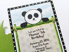 Inviti festa Panda Panda compleanno partito invita di PartyBijou