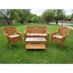 Have to have it. San Tropez All-Weather Wicker Settee Set - Set of 4 - $1096 @hayneedle.com
