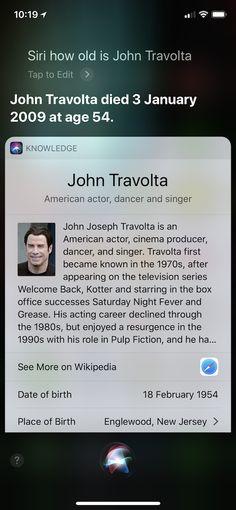 Siri thinks John Travolta is dead (AAPL)