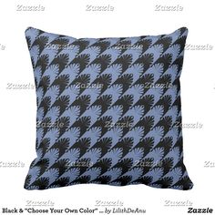 "Black & ""Choose Your Own Color"" Hounds-Tooth Throw Pillow"