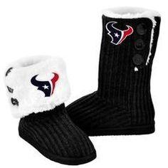 Houston Texans NFL Knit High End Button Boot Slipper