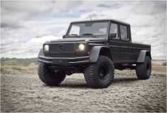 Modified by German customizer GWF, this 2002 Mercedes Benz G500 features a stretched chassis, 4-door double Cabin, and is fitted with 38-inch special tires for off-road terrain. The beast is equipped with a V8 engine with a capacity of 5.0 liters. This serious conversion, finished in a menacing matte black, was up for grabs recently at ebay for $ 99,000, with the reserve not being met. So keep an eye open for next auction.