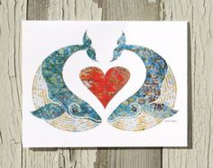 Note Card / Whimsical Kissing Whales / Beach Art / Heart / Love / Anniversary / Valentine / Printed from My Original Coastal Illustration
