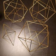 DIY Pattern Only (w/ video): Geometric Octahedron Himmeli Coffee Table Decor Minimalist Orb Brass Cube Airplant Mobile Wedding Ce