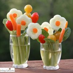 Forget the boring veggie tray.  These individual veggie bouquets are sure to be a huge hit at your next party.