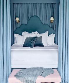 headboard awesomeness ~ The master suite at @nadja.swarovski's England home is a pink-and-blue paradise. Photo by @henrybourne #ADStyle