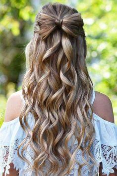 half up hair bows make such cute hairstyles for long hair! half up hair bows Easy Hairstyles For Medium Hair, Haircuts For Long Hair, Formal Hairstyles, Down Hairstyles, Braided Hairstyles, Gorgeous Hairstyles, Modern Haircuts, Homecoming Hairstyles, Short Haircuts