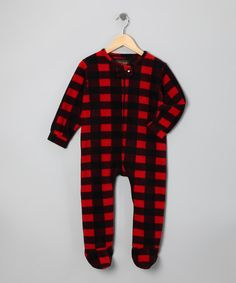 Take a look at this Trail Crest Red Plaid Fleece Footie - Infant, Toddler & Boys by Wildly Cool: Boys' Apparel on #zulily today!