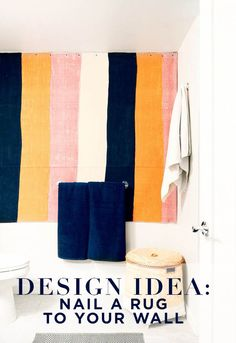 Turn a Rug Into Wall Art >> http://blog.hgtv.com/design/2015/04/02/rugs-as-wall-art/?soc=pinterest