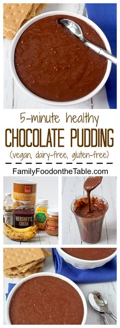 A healthy, no-cook chocolate pudding, naturally sweetened with honey. It's also vegan, dairy-free and gluten-free! | FamilyFoodontheTable.com