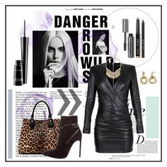 """""""Leather n Leopard Fashion Tease"""" by fashiontake-out ❤ liked on Polyvore featuring Anja, Balmain, Bobbi Brown Cosmetics, MAC Cosmetics, Diane Von Furstenberg, Yves Saint Laurent, Sole Society, LeopardPrint, tophandlebags and leatherdress"""