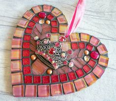 Mosaic crown heart, salmon pink crown, sparkly crown heart, crown heart gift, sparkly heart gift, special lady heart, crown gift for girls by MosaicMadStudio on Etsy