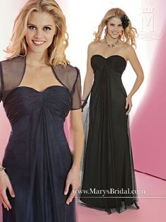 Strapless dress with gathered bodice, sheer overlay; sheer short-sleeved jacket