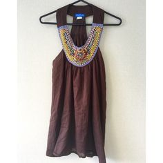Hippie Boho Tribal Beaded Tank Top Tunic SM Hippie Boho Tribal Beaded Tank Top Tunic. Tag reads small. Super cute over shorts or skinny jeans. Free people / Anthropologie style. Brown fabric, colorful beaded bid neckline. Tops