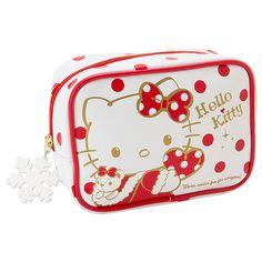 Hello Kitty Christmas Xmas Pouch M Medium Size RED SANRIO JAPAN