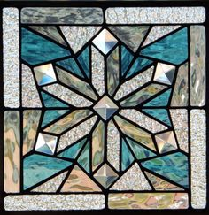 Clear Iridescent Blue Snowflake Suncatcher Stained Glass Panel