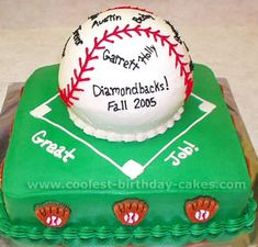 Coolest Baseball Cakes/really like this! Could make the top removed for the smash cake part. Softball Birthday Parties, Baseball Theme Birthday, Baseball Party, Baseball Mom, Pretty Cakes, Cute Cakes, Cool Birthday Cakes, Birthday Ideas, 2nd Birthday