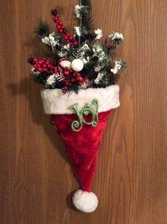 Santa hat wreath.