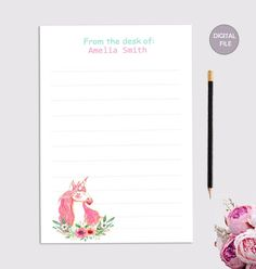 Unicorn Stationary, Stationary Printable, Printable Letters, Letter Stationery, Stationery Set, Personalized Stationery, Unicorn Printables, How To Fold Notes, Colored Paper