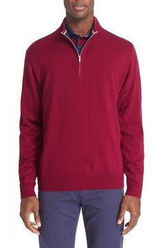 Paul & Shark Quarter Zip Sweater with Faux Suede Elbow Patches