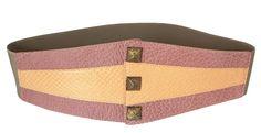 VANGLE - Genuine Python Leather - Made in Italy   Cintura con elastico realizzata in pelle di Vacchetta col. Rosa e inserto in Pitone col. Arancio - n°3 borchie in Ottone