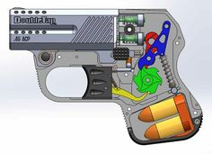 Diagram of the DoubleTap Defense pocket pistol 9mm or 45acp perfect for conceal carry
