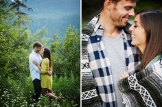 This gorgeous engagement shoot on a mountain captures the look of all 4 seasons in one day.