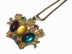 Art Glass Necklace  Vintage Rhinestone Crown  by PalmFrondJewelry