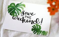 Tropical Save the Dates for Destination Wedding- Honey Brush Design