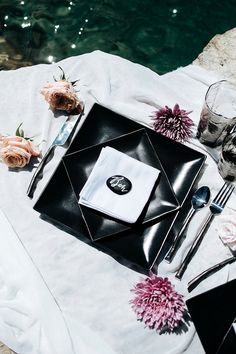 Modern Place Setting | Sultry Summertime Elopement Inspiration by Leighanne Herr Photography Black Weddings, Powerful Images, Elopement Inspiration, Place Setting, Summertime, Romantic, Pure Products, Black And White, Modern