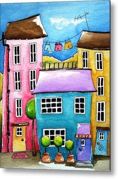 Casa metal de impresión que ofrece la pintura La casa azul por Lucía Stewart