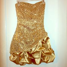 Homecoming dress Gold cupcake dress with sequin pattern, built in bra Ruby Rox Dresses