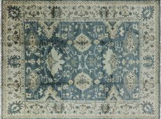Floral Blue Hand Knotted Wool
