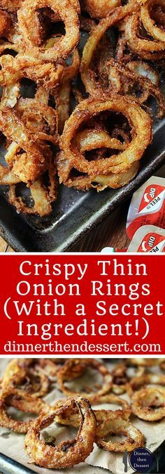 Easy delicious steakhouse-style Crispy thin onion rings! Made with just five ingredients and so good you'll eat most of them as you cook them!