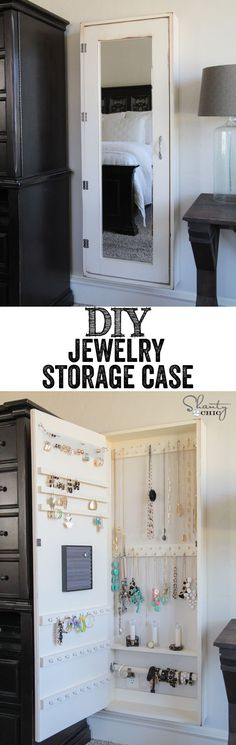 Slides behind armoire - DIY Jewelry Storage Case. Keep your bling untangled and well displayed with these brilliant DIY framed mirror with hidden storage case. Diy Projects Plans, Home Projects, Project Ideas, Craft Ideas, Wall Organization, Jewelry Organization, Storage Organizers, Diy Jewelry Organizer, Diy Organizer