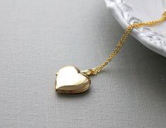 Gold Heart Locket Necklace by lunashineshine on Etsy Gold Heart Locket, Heart Locket Necklace, Heart Of Gold, Gold Necklace, Pendant Necklace, Cute Jewelry, Metal Jewelry, Jewlery, Key Pendant