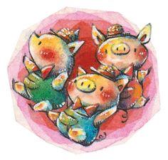 Three Little Pigs. by frankenji on DeviantArt Three Little Pigs, Cute Pigs, Third, Deviantart, Piglets